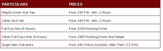 Removals Price List